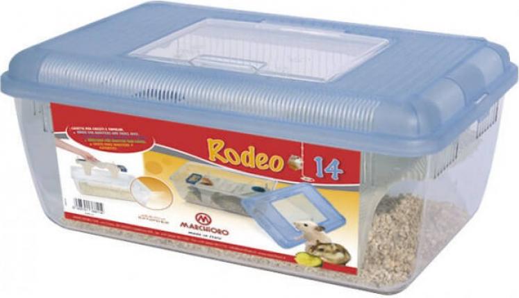 Rodeo 16 - boîte de transport pour rongeurs en plastique transparente couvercle bleu