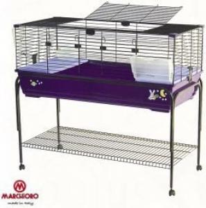Jaula para conejos y conejillos de Indias Robin 120 cm violeta + soporte de ruedas