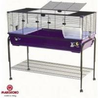 Cage pour lapins et cochons d'Inde Robin 120 cm violette + support à roulettes