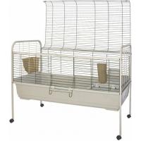 Cage pour lapins Susan de 80 à 120cm + support à roulettes