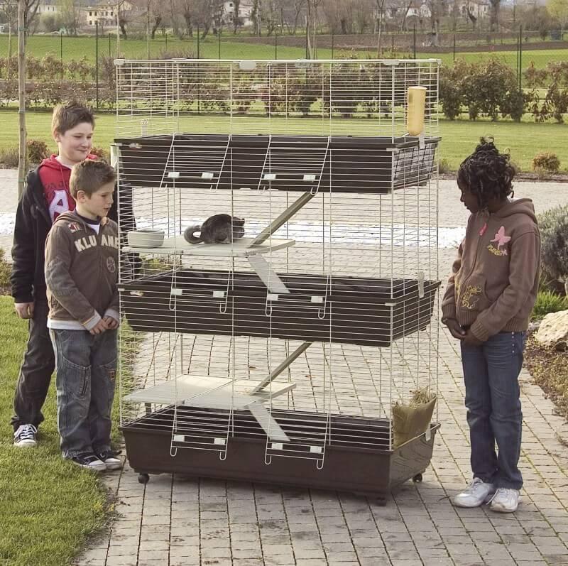 Cage pour lapins, cobayes et furets TOMMY 120 C3 - 3 étages - marron