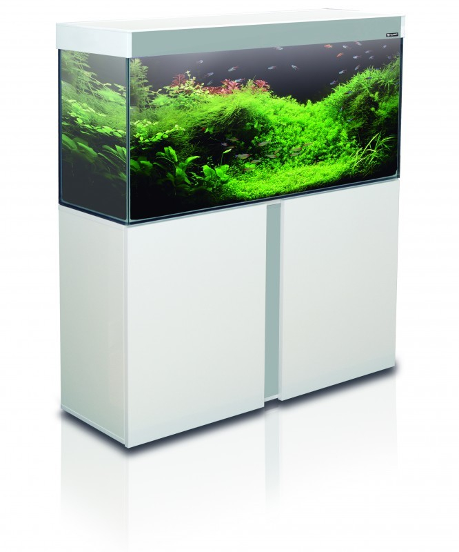 Aquarium meuble l gance blanche 95 litres for Meuble aquarium design
