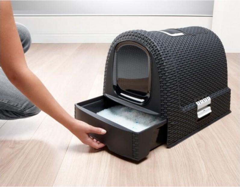 Maison de toilette pour chat anthracite - aspect rotin - nettoyage facile