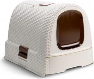 Maison de toilette pour chats ivoire - aspect rotin - pour un entretien facile