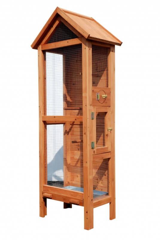 Pajarera exterior en madera l 60 cm x a 40 cm x h 160 cm for Voliere exterieur bois