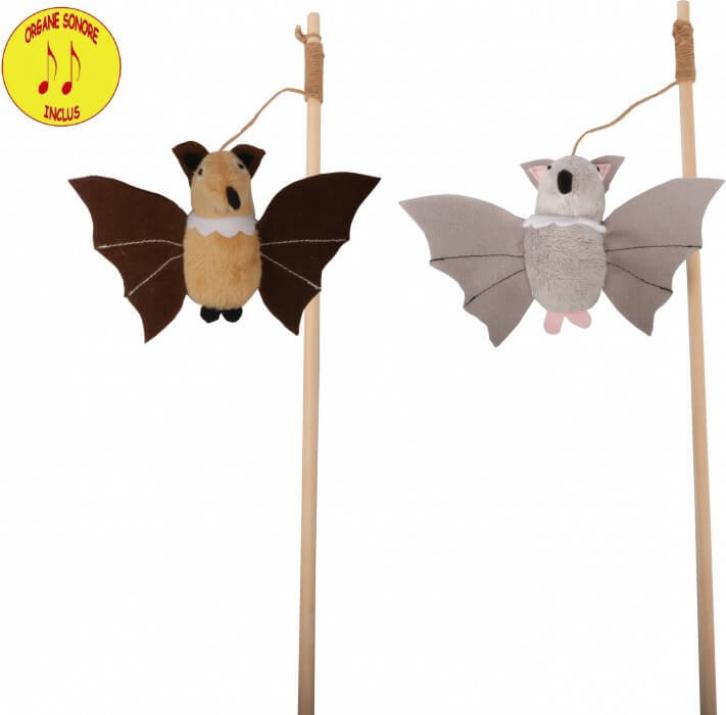 Juguete para gatos - Caña de pescar con murciélago - 2 colores.