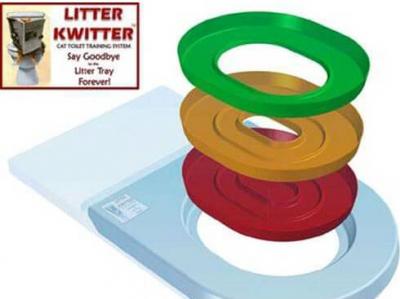 Litter Kwitter - Kit litière pour entraîner votre chat à se servir de vos toilettes!
