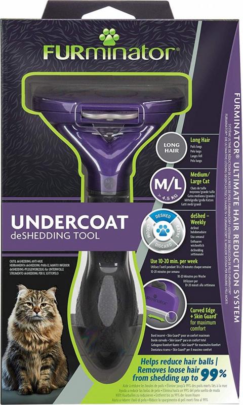 Brosse FURminator pour chat à poils longs - 2 tailles