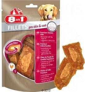 Friandises pour un pelage brillant, goût poulet - 8in1 Fillets Pro Skin&Coat, 2 tailles