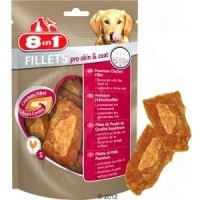 Friandises pour chien pelage brillant, goût poulet - 8in1 Fillets Pro Skin&Coat, 2 tailles