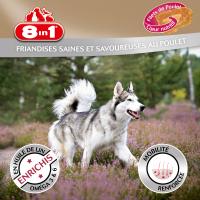 Friandises pour chien pelage brillant, goût poulet - 8in1 Fillets Pro Skin & Coat, 2 tailles