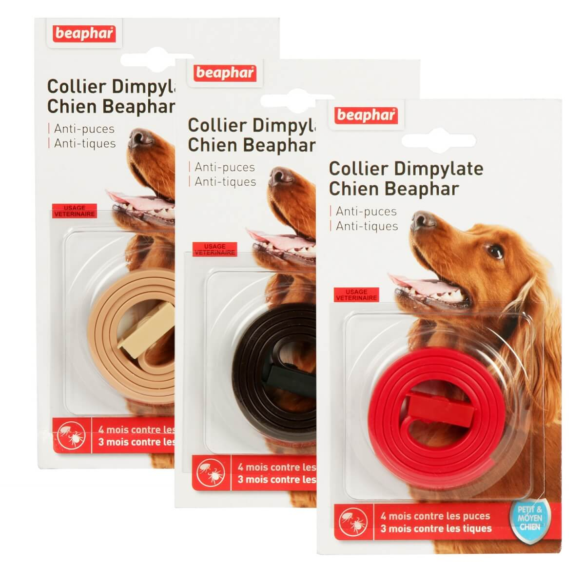 collier anti parasitaire anti puces et tiques petits et moyens chiens au dimpylate collier. Black Bedroom Furniture Sets. Home Design Ideas