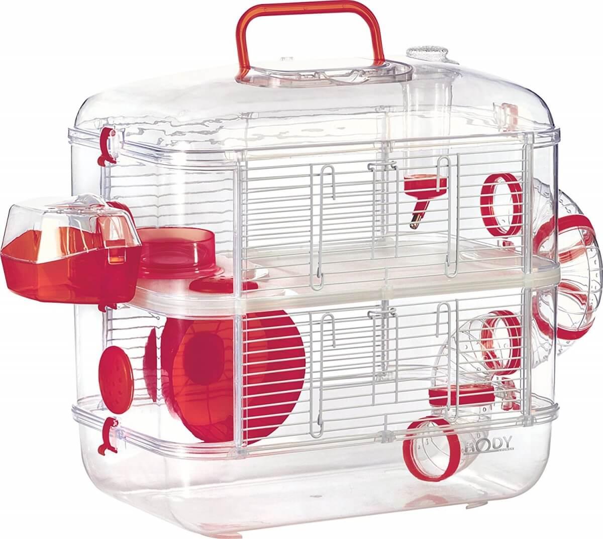 cage rodylounge duo couleur cerise pour hamster cage hamster. Black Bedroom Furniture Sets. Home Design Ideas