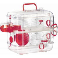Cage Rodylounge Duo couleur cerise pour Hamster