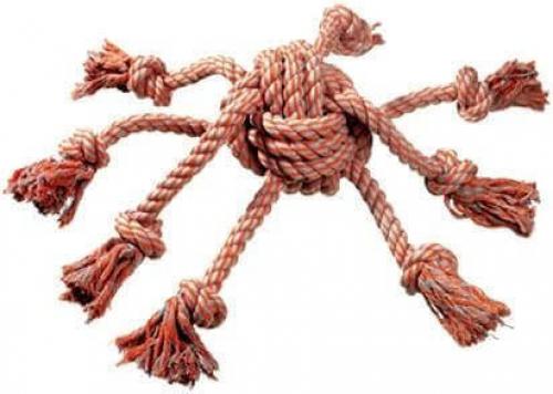 Corde à noeuds En coton, orange et gris