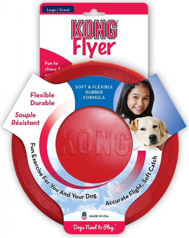 KONG chien Classic Flyer 2 tailles - frisbee souple et résistant
