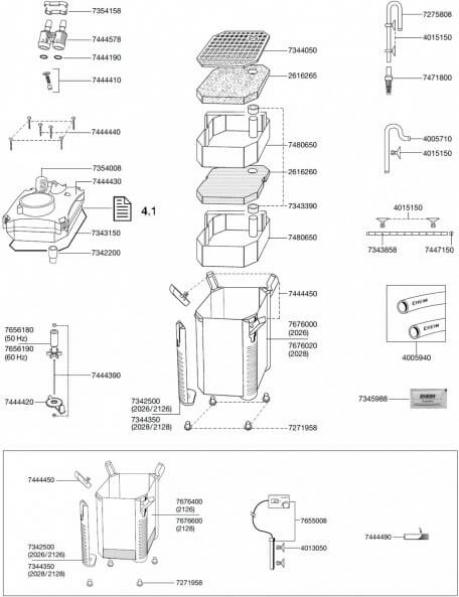 Pièces détachées pour filtre externe Eheim Professionel II 2026, 2028, 2126, 2128