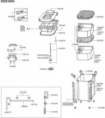 Ersatzteile für den Außenfilter EHEIM professionel 2222, 2224, 2322, 2324