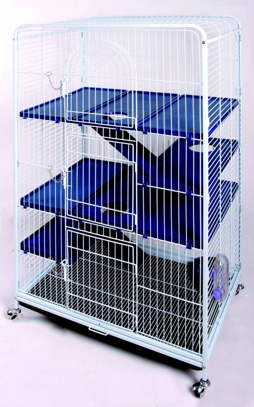 Cage BIG TOWER bleu / blanc 80 cm chinchillas furets et rats