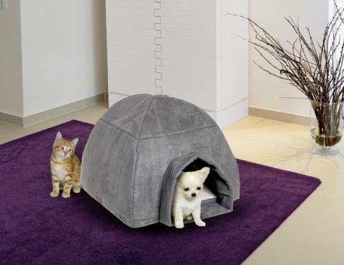 hundeh tte cosy iglu in grau f r kleine hunde und katzen betten und k rbe. Black Bedroom Furniture Sets. Home Design Ideas