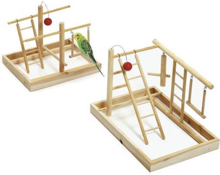 Aire de jeu en bois pour petit oiseau
