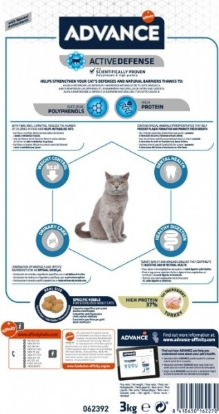 Advance Sterilized Adult Dinde & Orge pour Chat Adulte Stérilisé
