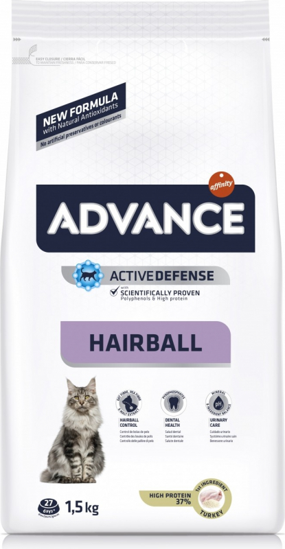 Advance Cat Hairball Dinde & Riz pour Chat Adulte - Anti Boules de Poils