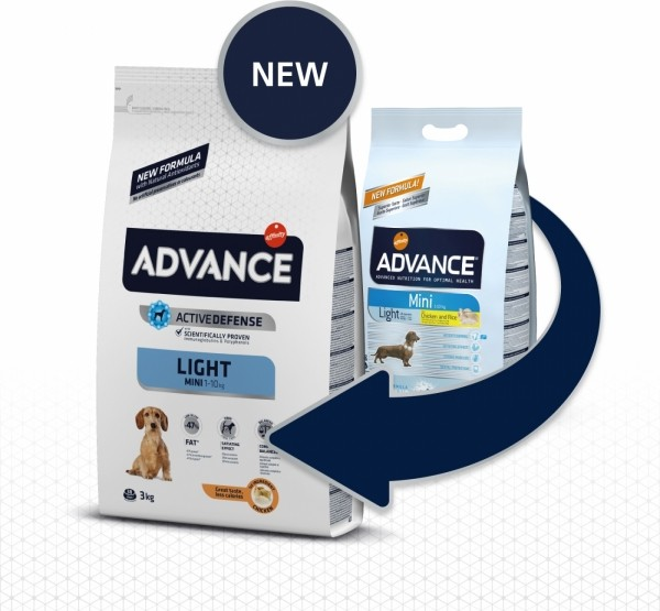 Advance Mini Light au Poulet pour chien Adulte de Petite Taille en Surpoids