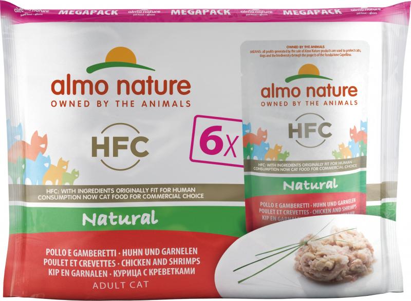 Pack van 6 zakjes natvoer ALMO NATURE HFC Classic voor volwassen katten - 3 smaken naar keuze