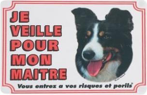 """Panneau chien Border Collie """"Je veille pour mon maître"""""""