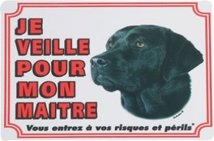 Panneau chien Labrador noir