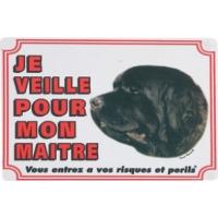 Cartel perro Terranova ''Vigilo para mi dueño''