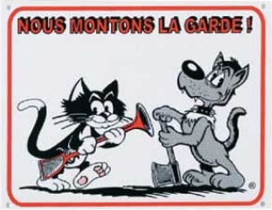 """Panneau dessin chien et chat """"Nous montons la garde"""""""