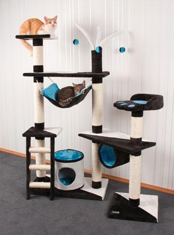 arbre a chat tivcrea gris bleu et blanc. Black Bedroom Furniture Sets. Home Design Ideas