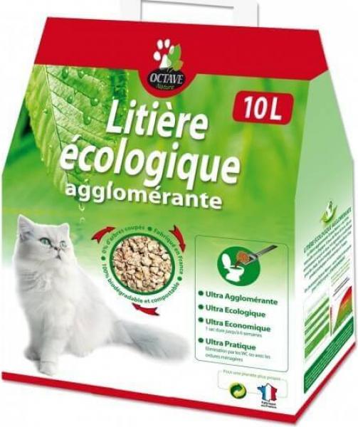 Litière chat végétale agglomérante 100% naturelle et écologique - Octave Nature