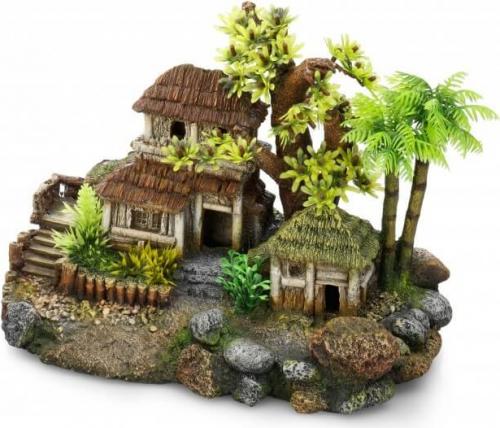 Décoration aquarium maisons en bois entourées d'arbres
