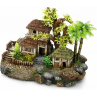Décoration aquarium maisons en bois entourées d'arbres (1)