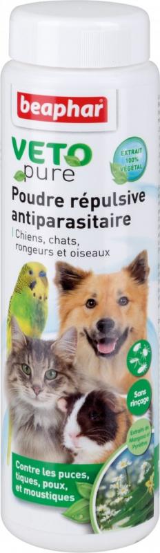 Poudre répulsive antiparasitaire pour chiens, chats, oiseaux et rongeurs