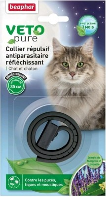 Collier répulsif antiparasitaire réfléchissant pour chat et chaton - système anti-étranglement