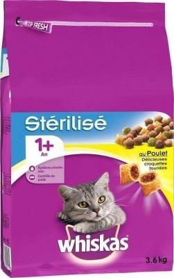 Croquettes Whiskas 1+ pour Chats Adultes Stérilisés 1+ Poulet ou Saumon