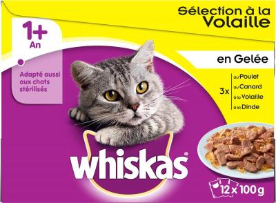 Pack de 12 Pâtées WHISKAS 1+ Sélection de Volaille en gelée pour Chat adulte - 4 saveurs
