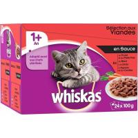 Pack de 24 Pâtées WHISKAS 1+ Sélection de Viandes en Sauce pour Chat