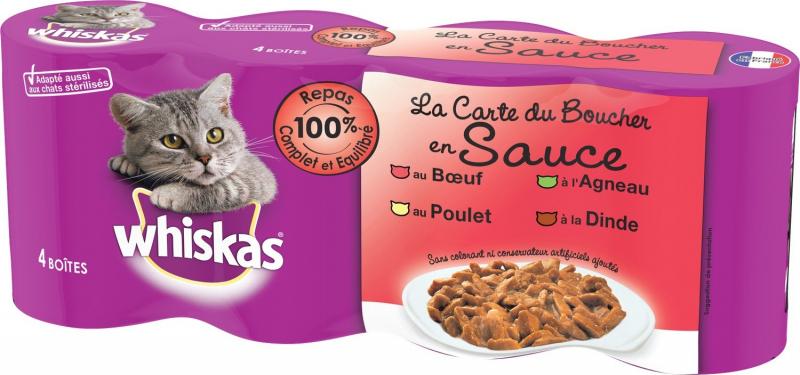 Pack de 4 Pâtées WHISKAS La Carte du Boucher en Sauce pour Chat