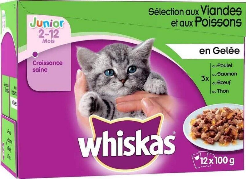Pack de 12 Pâtées WHISKAS Junior Sélection de Volailles en gelée pour Chaton - 4 saveurs
