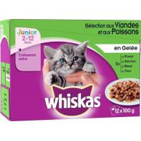 Pâtée Whiskas junior en gelée, 4 saveurs