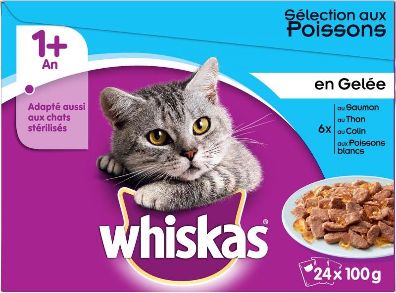 Pack de Pâtées WHISKAS 1+ Sélection de Poisson en gelée pour chat adulte - 4 saveurs