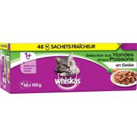 MEGA Pack de 48 Pâtées WHISKAS +1 Sélection de Viandes et Poissons en Gelée pour Chat