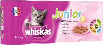 Terrina para gatitos, Whiskas Junior, 4 sabores