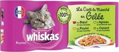 """""""La carta del mercado en gelatina"""" Whiskas para gatos; 4 sabores"""