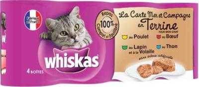 La carte mer et campagne en terrine pour chat Whiskas, 4 saveurs